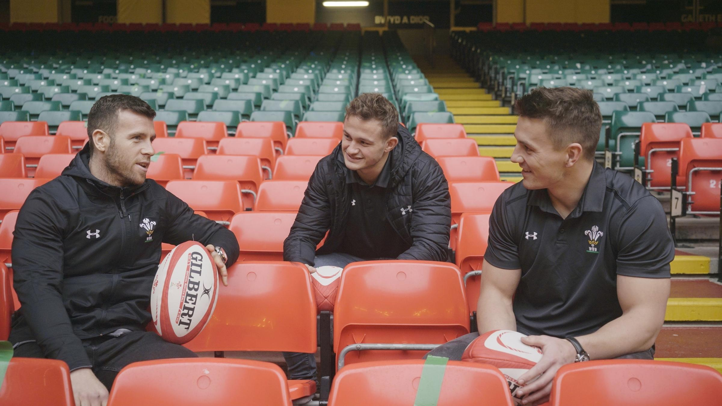 Wales rugby internationals Gareth Davies, Hallam Amos and Jonathan Davies are supporting Principality's kit donation scheme for School of Hard Knocks charity.