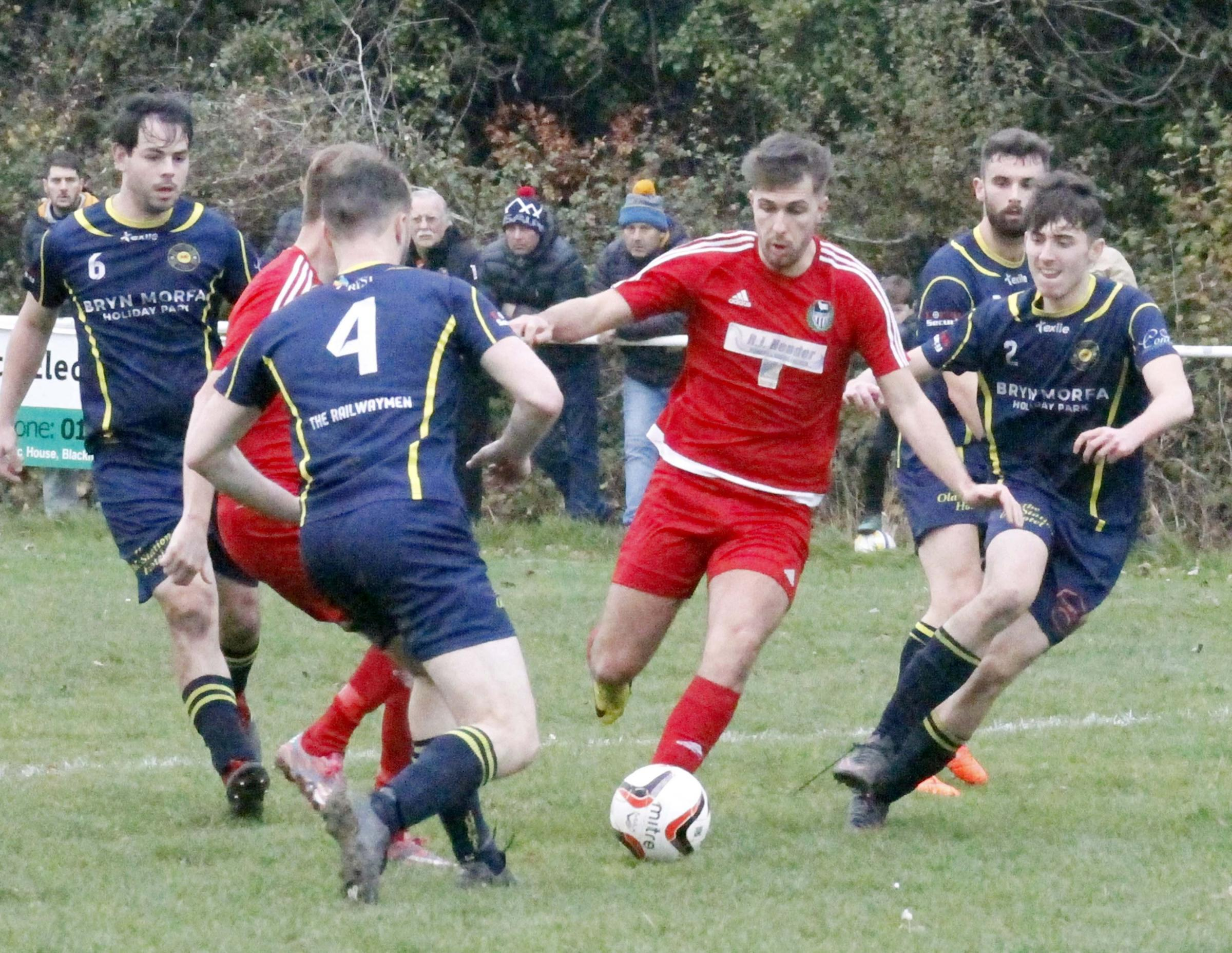 Peter Jones in action for Llandudno Albion (Photo by Dave Thomas)