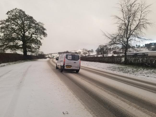 Ice on the road between Ruthin and Mold. Picture: Craig Colville