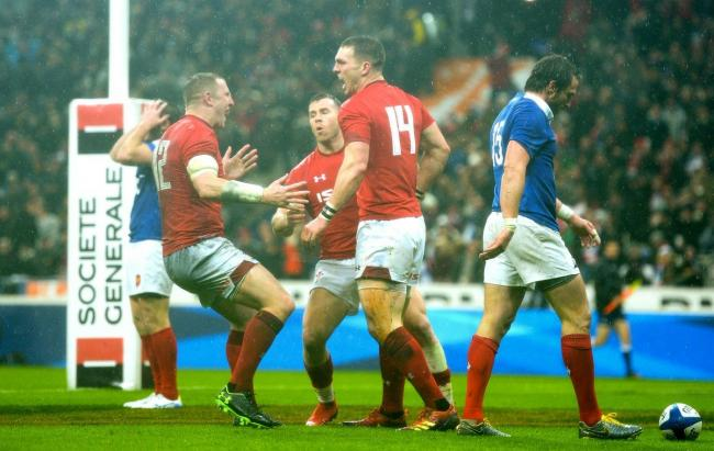 George North celebrates a try for Wales (Photo: WRU Twitter)