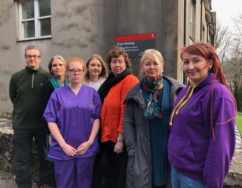Siân Gwenllian AM and Helen Mary Jones AM with learning disability nursing students and lecturers at Bangor University's School of Health Sciences