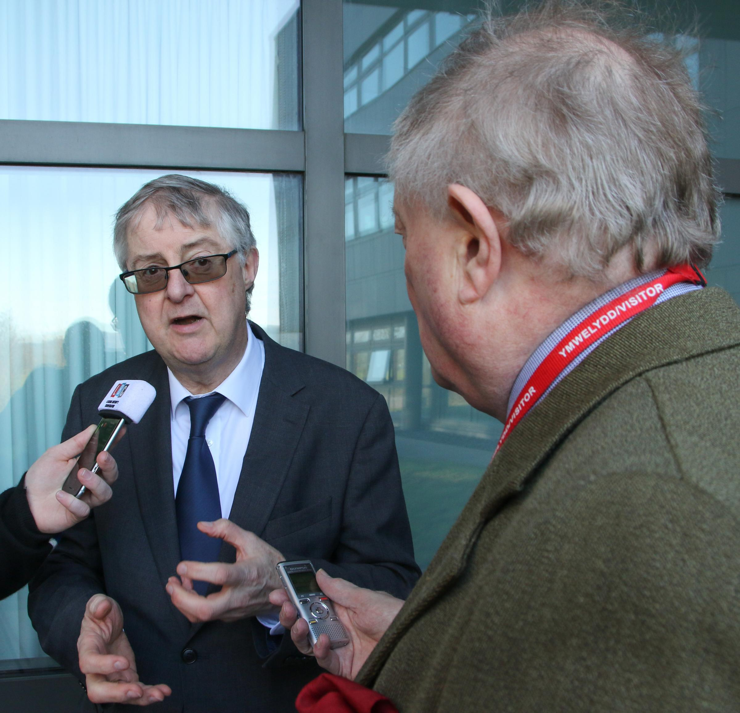 Mark Drakeford being interviewed prior to the cabinet meeting. Picture: Kerry Roberts