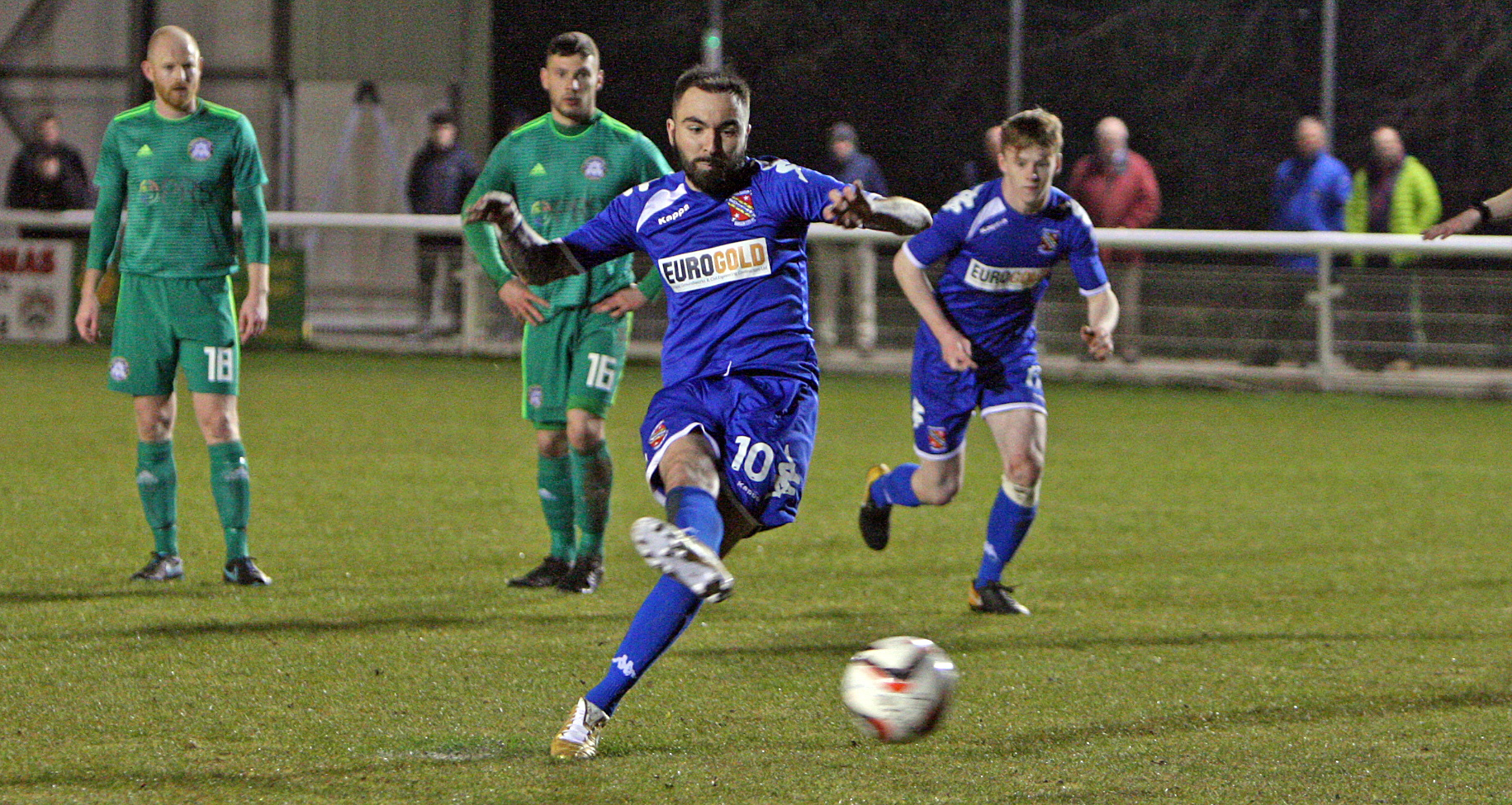 Robbie Parry opened the scoring for Bangor City at Holywell Town (Photo by Richard Birch)
