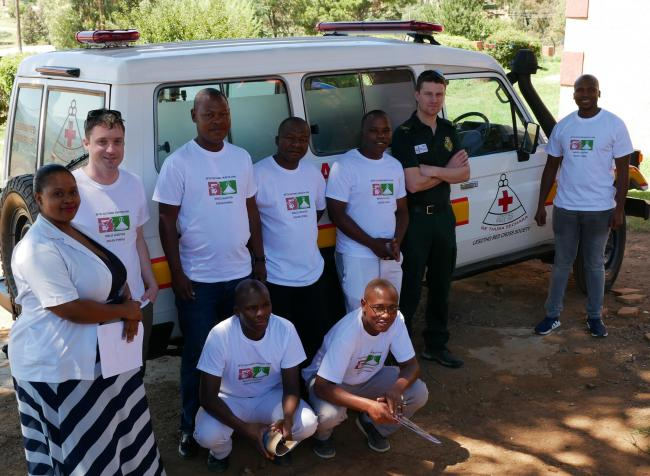 Pictured: (Far left) Dr Mokhahlane, District Medical Officer, Quthing Hospital with Aaron Pritchard, Co-ordinator for the Betsi-Quthing International Health Partnership. (far right) Moeketsi Lethoko (Project Co-ordinator) and Thomas McLay (Paramedic, WAST