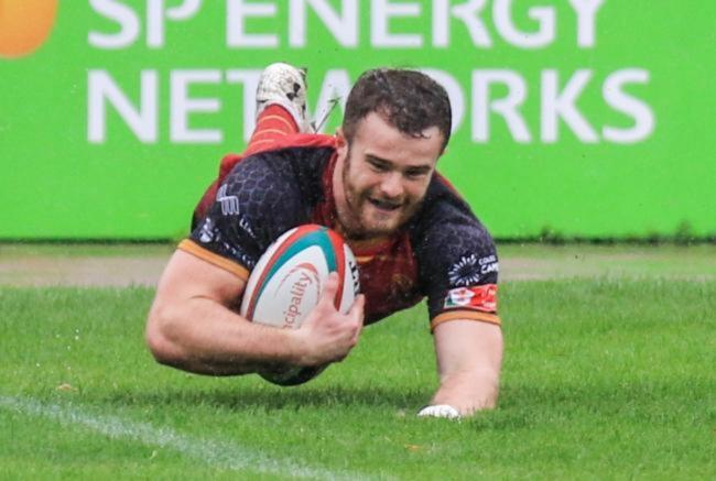 Sam Jones scored two tries for RGC at Bridgend (Photo by Tony Bale)