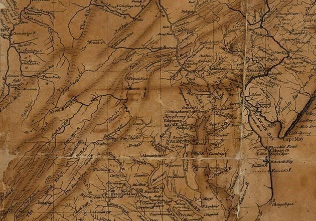 Lewis Evans map from 1755 Picture courtesy of Swann Auction Galleries