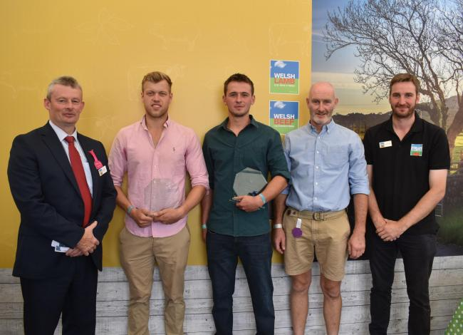The 2018 scholarship being awarded at the Royal Welsh Show. From left: Gwyn Howells (HCC), Peredur Owen (HCC scholar), Dafydd Huw (HCC scholar), Richard Tudor (HCC Scholarship Association chair) and James Ruggeri (HCC)