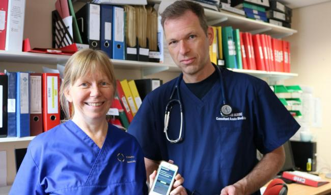 Clinical research specialist nurse Wendy Scrase and Dr Chris Subbe, team members of the clinical study at Ysbyty Gwynedd.