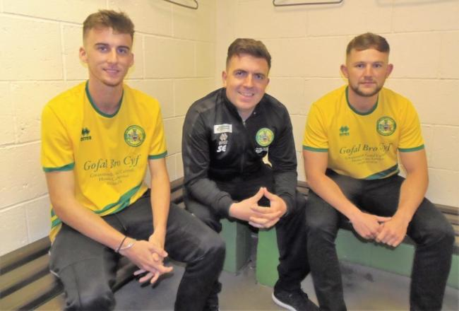 Sam Jones and Gruff John Jones with Caernarfon Town assistant Sean Eardley